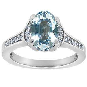 Oval Aquamarine and Diamond Ring(Metalyellow gold,Size6) Jewelry