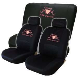Greatest Mom in the Universe Embroidered Designed Seat Covers Black