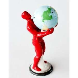 Man Holding the Earth Salt & Pepper Shakers Set, 5 Inches