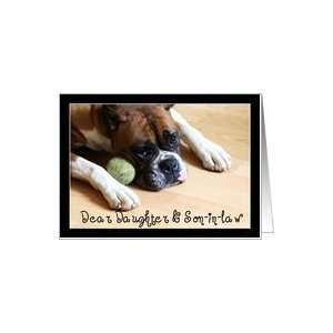 Daughter and Son in law Thank You Boxer Dog Card Health