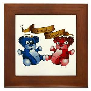 Framed Tile Double Trouble Bears Angel and Devil