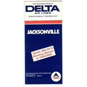 Delta Air Lines Jacksonville Florida Time Table 1978: Everything Else