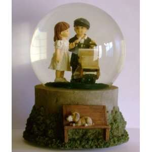 Kim Anderson Boy and Girl With Stroller Musical Water Globe TUNE  As