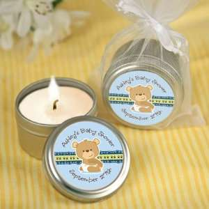 Baby Boy Teddy Bear   Personalized Candle Tin Baby Shower