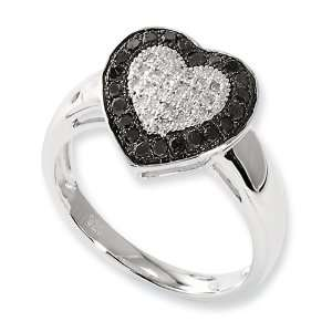 Sterling Silver Black & White Diamond Heart Ring Size 8 Jewelry