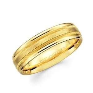 Ladies Mens Satin Milgrain High Polish Wedding Ring Band 6MM Size 10.5