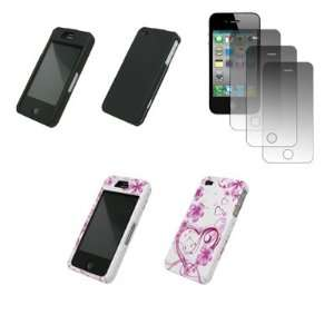 Cell Phone Protectors (Black Rubberized, White and Pink Love Hearts