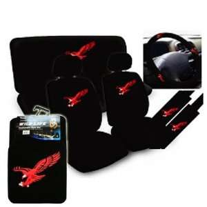 NEW 11 pcs Red Eagle Car Auto Seat Cover + 4 pcs Floor mat