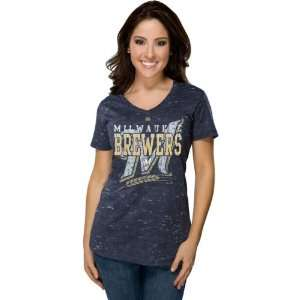 Milwaukee Brewers Navy Womens Topaz Haze T Shirt