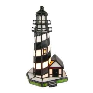 Black and White Stained Glass Lighthouse Accent Lamp Home Improvement