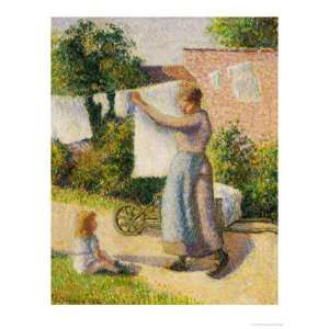 Woman Hanging Her Laundry, 1887 Giclee Poster Print by