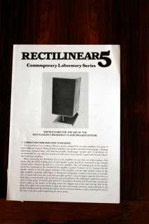 Rectilinear 5 Speaker Owners Manual *Original*
