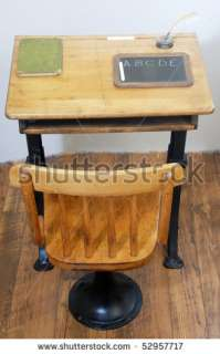 stock photo  Antique school desk and chair on old wooden floor in