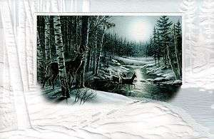 16 Boxed Christmas Cards Whitetail Deer Buck at Night