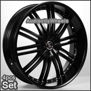 24 black matte wheels rims chevy ford escalade gmc sku t24d10049bk