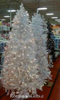 Art Deco WHITE Slim Alaska Christmas Tree 7 Foot Pre Lit Clear, hinged