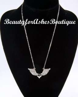 HEAVENLY CRYSTAL HEART LOVE ANGEL WINGS NECKLACE BY PARK LANE JEWELRY