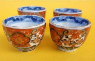 ANTIQUE JAPANESE IMARI PORCELAIN TEA OR SAKE CUPS SET FOUR FINE MEIJI