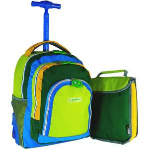World Lightning Wheel 16 Rolling Backpack with Bonus Lunch Bag, Neon