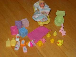 Barbie Krissy Baby Scrub a Dub Dub Tub Lot Accessories