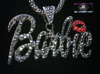 Nicki Minaj 3 BARBIE Iced Out Necklace Hematie/Black Red Lips