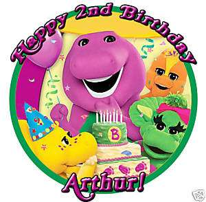 BARNEY Custom Round Edible CAKE Image Icing Topper