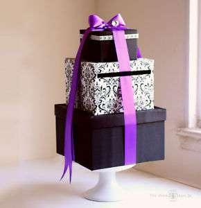 Wedding Card Box Money Holder   Damask Purple Ribbon