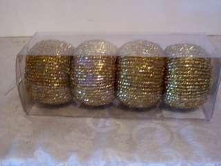 GOLD BEAD NAPKIN RINGS HOLIDAY TABLE DECORATION CHRISTMAS MARDI GRAS