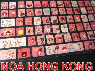 Colorful Cartoon Korean English Desktop Laptop Keyboard Sticker ZE
