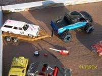DEMOLITION DERBY CAR 73 PINK CAPRICE WAGON AND FORD F350 SUPERDUTY 4X4