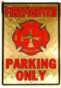 FIREFIGHTER PARKING ONLY SILVER DIAMOND PLATE METAL PARKING SIGN   8
