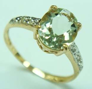 FINE 10KT YELLOW GOLD GREEN AMETHYST & DIAMOND RING