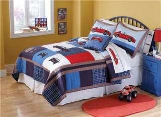 PC Race Cars Boys Kids Blue Red Full Queen Quilt & Pillow Shams