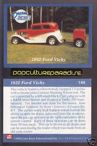 1932 FORD VICKY Hot Rod w/Trailer Car Picture Fact Card