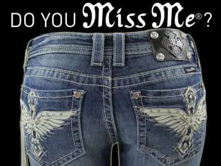 New Miss Me Jean Ladies Wings Stones Boot Cut Jeans Pants 30