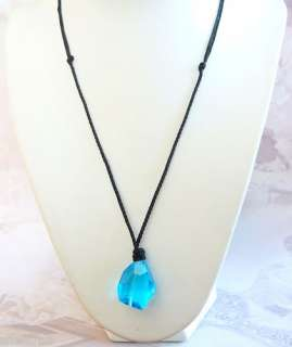 H20 Just Add Water Mermaid Style Blue Crystal Necklace Charm Pendant