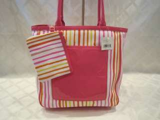 NWT LIZ CLAIBORNE PINK MULTI STRIPED POP TOTE LARGE   #HBRUG021