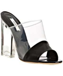 Prada black and clear pvc leather detail slides