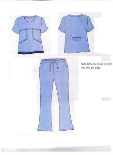 Hospital Scrub Top Flare Pant set Medical uniform Navy Blue / Ciel