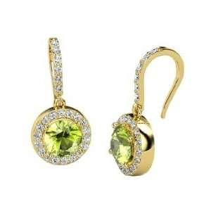 Gem Drop Earrings, Round Peridot 14K Yellow Gold Earrings
