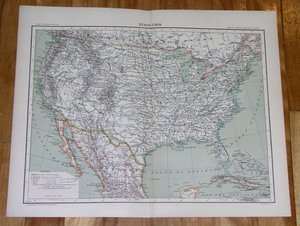 1906 FRENCH MAP OF UNITED STATES USA FLORIDA TEXAS INDIAN TERRITORY