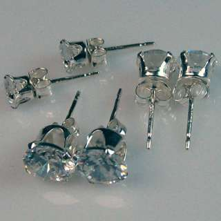 Zirconia Stud White Round Cut Sterling Silver Earrings CZ USA