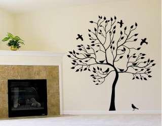 BIG TREE WITH BIRD WALL DECAL Deco Art Sticker Mural