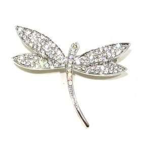 AB Clear Austrian Rhinestone Silver Tone Dragonfly Brooch Pin Jewelry