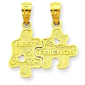 Polished Textured Best Friend Puzzle Piece Break Apart Pendant