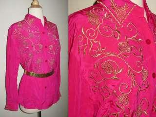 Vtg Diane Von Furstenberg Hot Pink Gold SILK Blouse Top