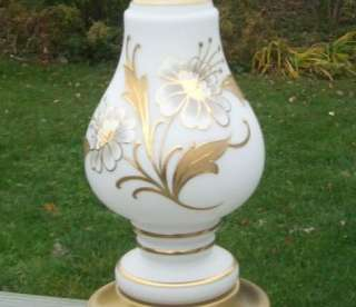 ANIQUE OLD PAINED GLASS HOLLYWOOD REGENCY FLORAL LAMP |