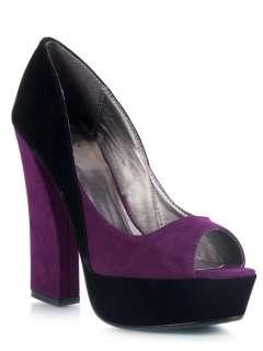 NEW QUPID Women Colorblock Platform Chunky Heel Pump purple Black