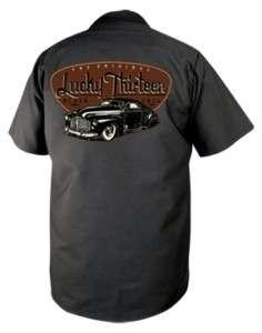 Lucky~13 BLACK JACK Black Mechanic Work Shirt M 3X