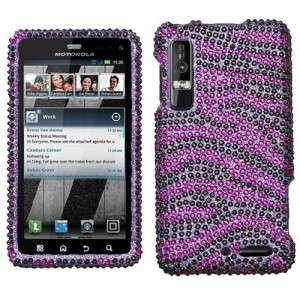 Purple Zebra Crystal BLING Hard Case Phone Cover for Verizon Motorola